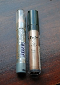 left: Wet n Wild idol Eyes in pixie, right: NYX water resistant  cream shadow in suede