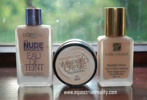 Left to right: Loreal Nude Eau De Teint (light coverage), Max Factor Whipped Cream Foundation (Medium coverage), Estee Lauder Double Wear (Full coverage)