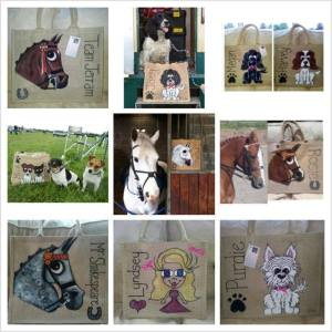 A sample of Art by Suzie cartoon portraits of horses, dogs and people