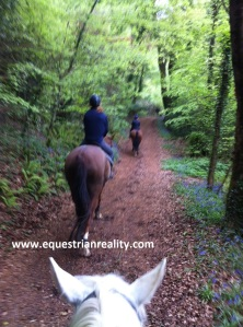 Hacking through the bluebell woods. Excuse the blurriness - moving and photographing!